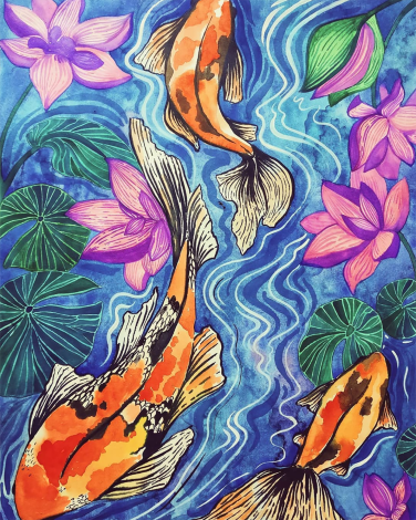 Koi Pond Experiment 1 / Ink & watercolour on paper